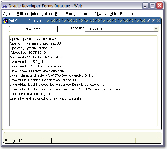 A Java Bean to get the client machine information - Oracle Forms