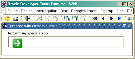 Text item and custom cursor
